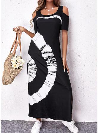 印刷 半袖 冷たい肩の袖 シフトドレス カジュアル マキシ ドレス