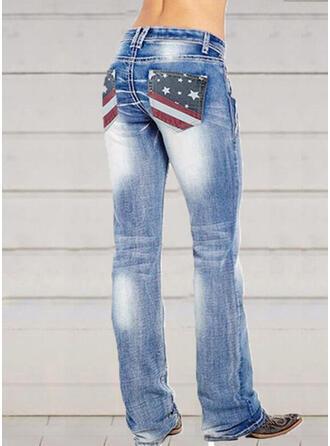 Shirred Extra stor storlek Elegant Sexig Denim & Jeans
