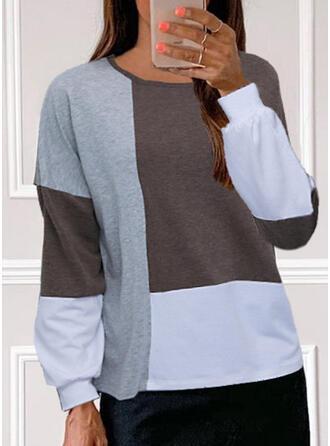 Color Block Kulatý Výstřih Dlouhé rukávy Trička