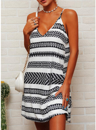 Striped Sleeveless Shift Above Knee Casual Slip Dresses