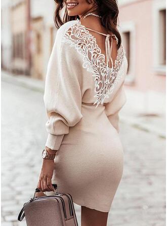 固体 レース/Knit 長袖 ランタンスリーブ ボディコンドレス 膝上 エレガント セーター ドレス