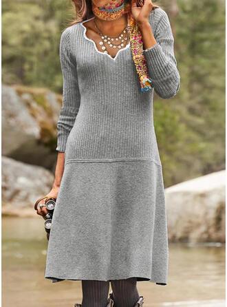 固体 Knit 長袖 シースドレス セーター カジュアル ミディ ドレス