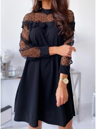 Encaje/Sólido/Lunares Manga Larga Tendencia Sobre la Rodilla Pequeños Negros/Elegante Vestidos