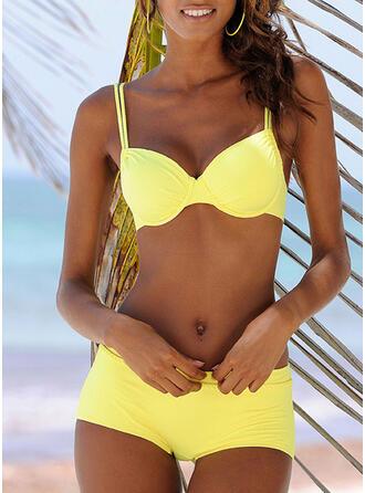 Color Sólido Correa Sexy Bikinis Trajes de baño
