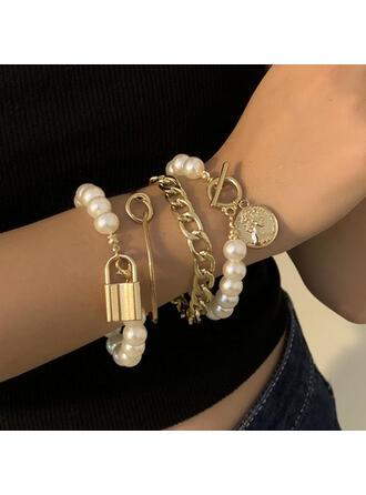 Alla moda Sexy Vintage Stile classico lega Di faux perla con Perla imitazione Donna Signore Bracciali 4 pezzi