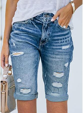 固体 デニム 膝上 セクシー プラスサイズ pocket rippped ショートパンツ デニムジーンズ