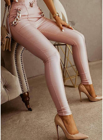 Sólido PU Largo Elegante Oficina / Negocios Bolsillo Cadenas Pantalones