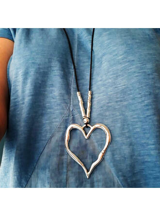 Vintage Heart Shaped Boho Alloy Braided Rope Necklaces