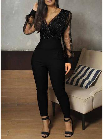 V-Neck Long Sleeves Sexy Jumpsuit