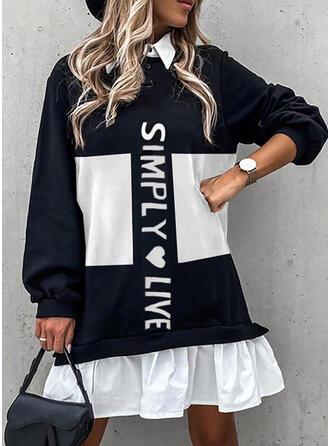 印刷/カラーブロック/ハート/文字 長袖 シフトドレス 膝上 カジュアル チュニック ドレス