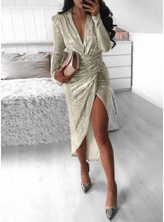 Sólido Manga Larga Cubierta Asimétrico Fiesta/Elegante Vestidos