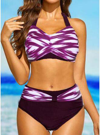 Raya Color de Empalme Cuello en V Sin Tirantes Deportes Talla extra Casual Bikinis Trajes de baño