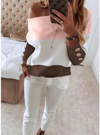 Color Block Casual Plus størrelse bluse & 2-delt tøj sæt