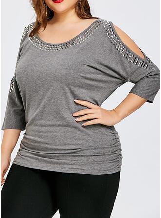 Einfarbig Schulterfrei 3/4 Ärmel Lässige Kleidung Große Größen Blusen