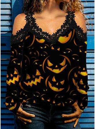 Halloween 印刷 レース コールドショルダー 長袖 冷たい肩の袖 カジュアル ブラウス