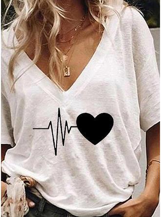 Impresión Cuello en V Manga corta Casual Camisetas