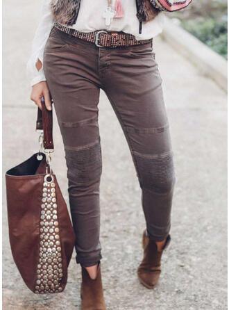 Sólido Largo Clásico Tallas Grande Bolsillo Botones Pantalones