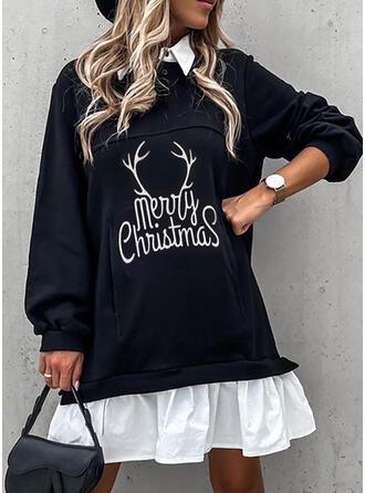 Minta Hosszú ujjú Ingruha Térd feletti Karácsony/Hétköznapokra φορέματα