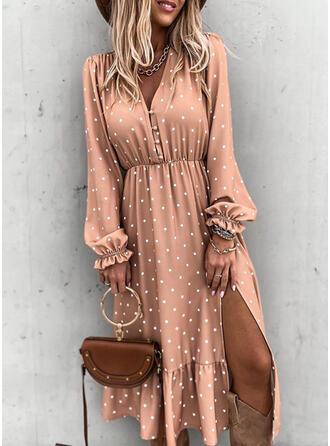 PolkaDot Long Sleeves/Puff Sleeves A-line Casual/Elegant Midi Dresses