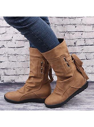 De mujer PU Tacón plano Plataforma Botas con Cremallera Cordones Color sólido zapatos