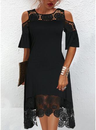 固体 レース 1/2袖 冷たい肩の袖 シフトドレス 膝丈 リトルブラックドレス/エレガント ドレス