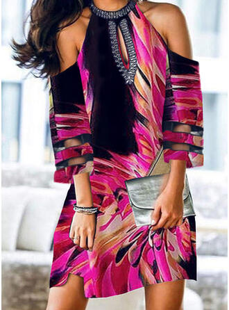 Print 3/4 Sleeves Shift Above Knee Elegant Dresses