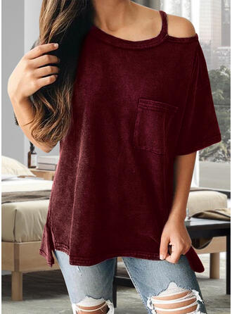 Solid One Shoulder Short Sleeves T-shirts