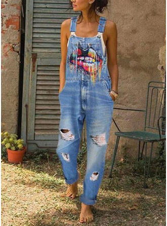 Print Strap Sleeveless Casual Denim Jumpsuit