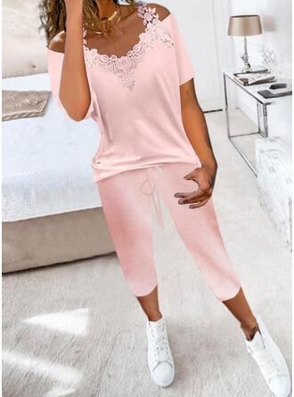 fickor Solid Fritids Extra stor storlek blus & Tvådelade kläder uppsättning