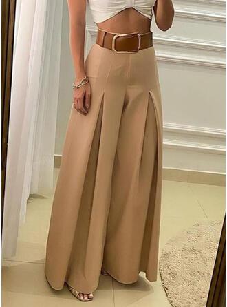Solid Shirred Plus Size Elegant Vintage Lounge Pants