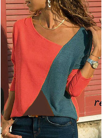 Bloque de color Cuello en V Manga Larga Casual camiseta