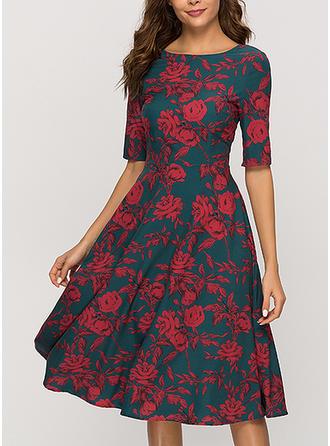 Print/Floral Short Sleeves A-line Knee Length Christmas/Casual/Elegant Dresses