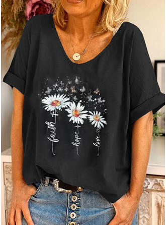 Animal Print Figure Floral Round Neck Short Sleeves T-shirts