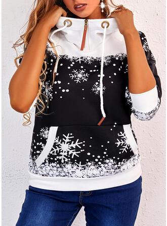 Christmas Print Snowflake Long Sleeves Hoodie