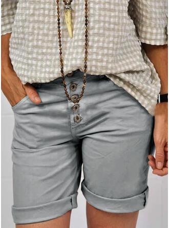 Por encima de la rodilla Casual Tallas Grande Bolsillo Botones Pantalones cortos