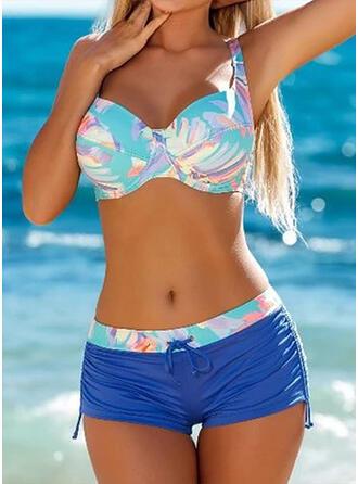 Hög Midja Splice färg Rem Sexig Sporter bikini Badkläder