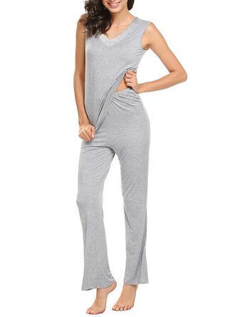 V-Neck Fără Mâneci Casual Seturi Top & Pantaloni