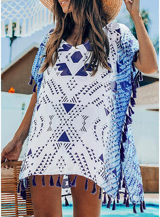 Plaid Splice color Round Neck Fresh Cover-ups Swimsuits