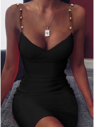 Sólido Sin mangas Ajustado Sobre la Rodilla Sexy/Casual Vestidos