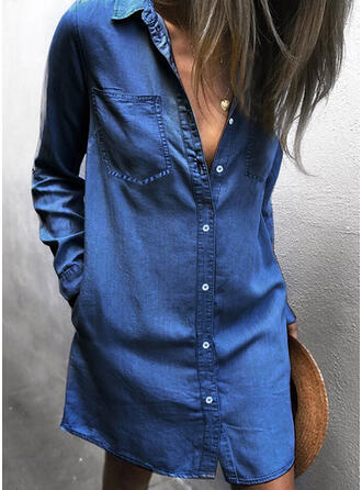 Solid Long Sleeves Shift Above Knee Casual/Denim Dresses