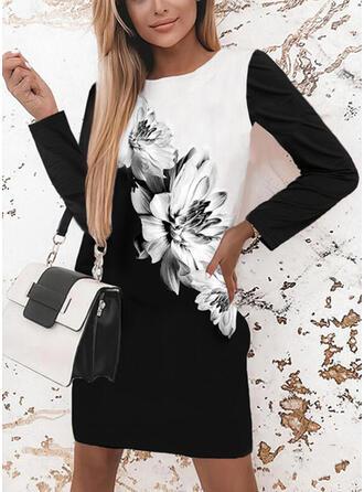 印刷/フローラル/カラーブロック 長袖 シフトドレス 膝上 カジュアル チュニック ドレス