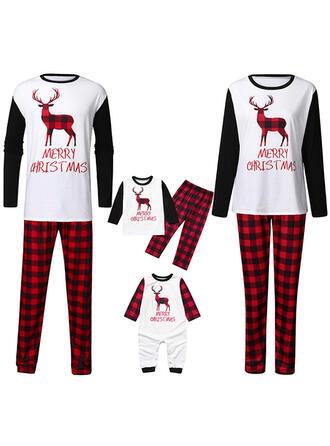 Reno Tela Escocesa Carta Familia a juego Pijamas De Navidad