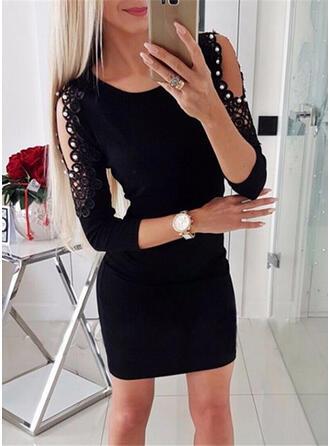 Solid 3/4 Sleeves Cold Shoulder Sleeve Sheath Above Knee Little Black/Casual Dresses