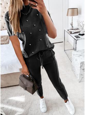 Solid Fritids Extra stor storlek blus & Tvådelade kläder uppsättning