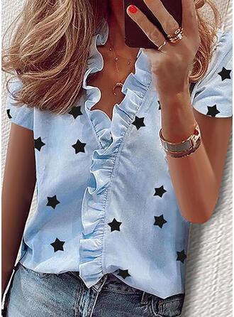 Nadruk Dekolt w kształcie litery V Krótkie rękawy Casual Elegancki Bluzki