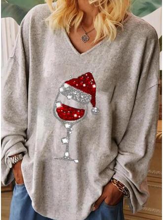 Print Pailletten V-hals Lange Mouwen Kerstmis T-shirts