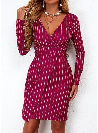 印刷 長袖 シースドレス 膝上 カジュアル ドレス