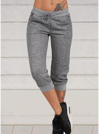 Sólido Capris Casual Deportivo cordraystring Pantalones Pantalones de salón