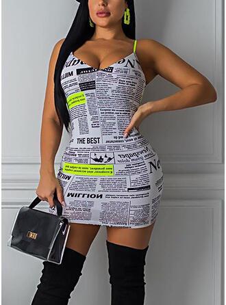 Impresión Sin mangas Ajustado Sobre la Rodilla Sexy/Casual Camisón Vestidos