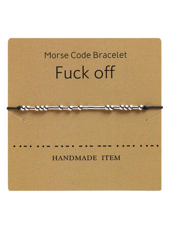 Simple Morse Code Alloy Braided Rope Women's Bracelets